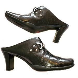 Aerosoles Black Cinch Worm Mule Shoes Size 6 1/2M